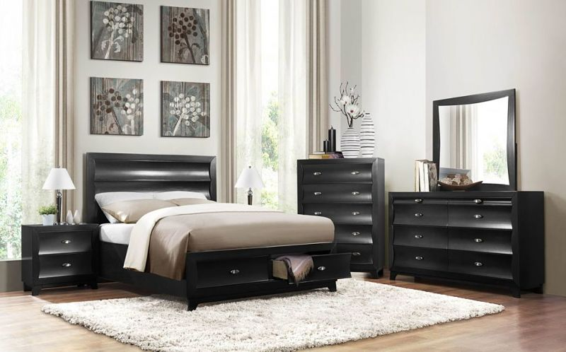 Zandra Bedroom Set with Storage Bed in Black