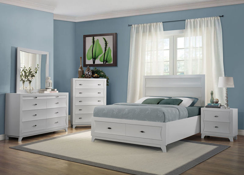 Zandra Bedroom Set with Storage Bed in White