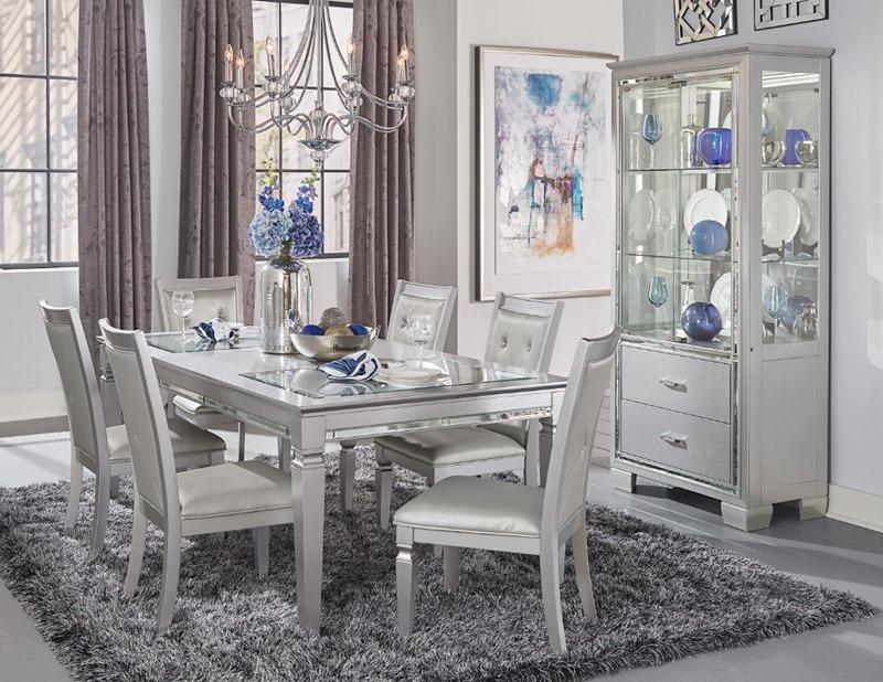 Allura Dining Room Set in Silver