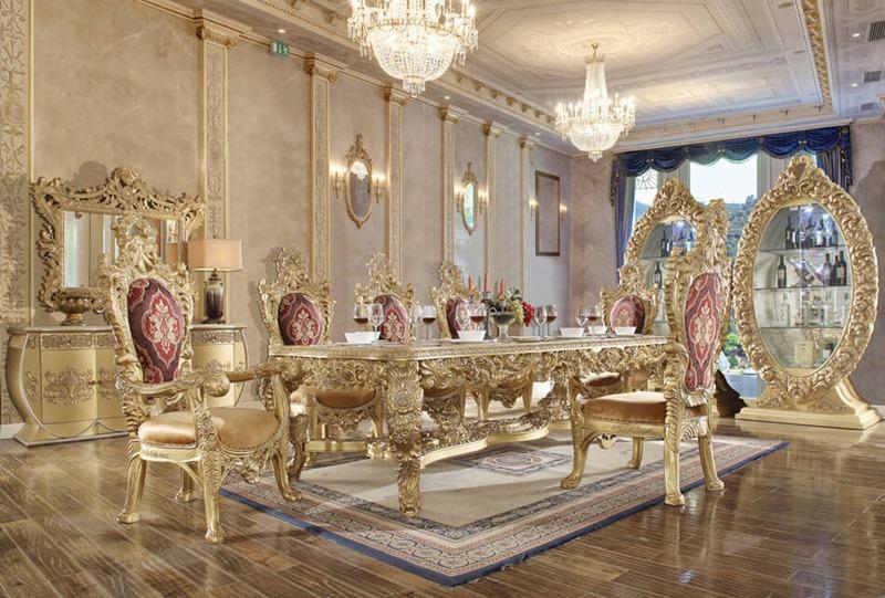 Homey Design Hd 8086 Long Raisa Formal Dining Room Set