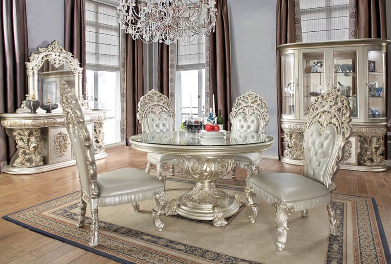 Homey Design Hd 8088 Round Prosper Formal Dining Room