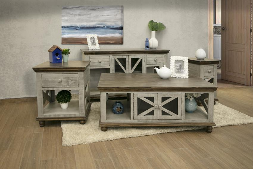 Florence Rustic Coffee Table Set in Gray