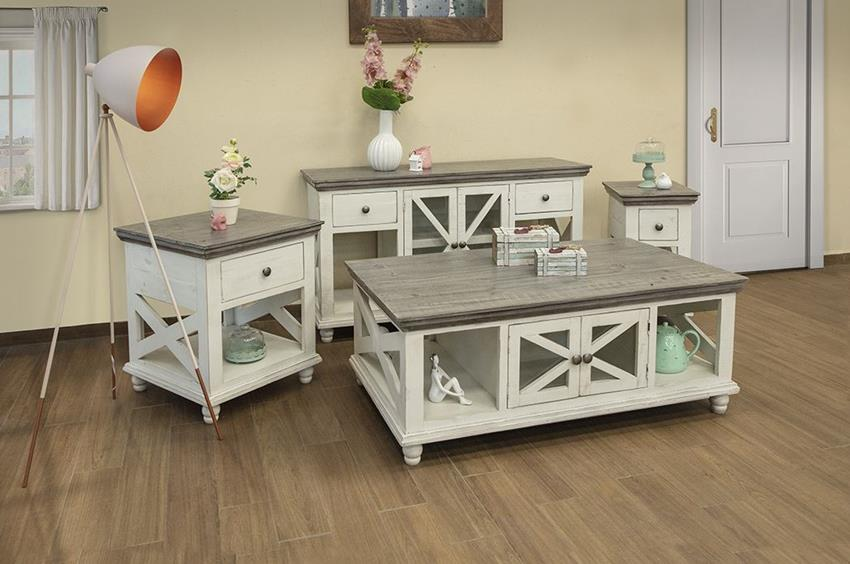 Florence Rustic Coffee Table Set in Ivory