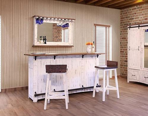 Pueblo White Rustic Bar Set