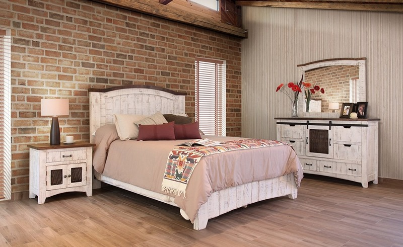 Pueblo White Rustic Bedroom Set