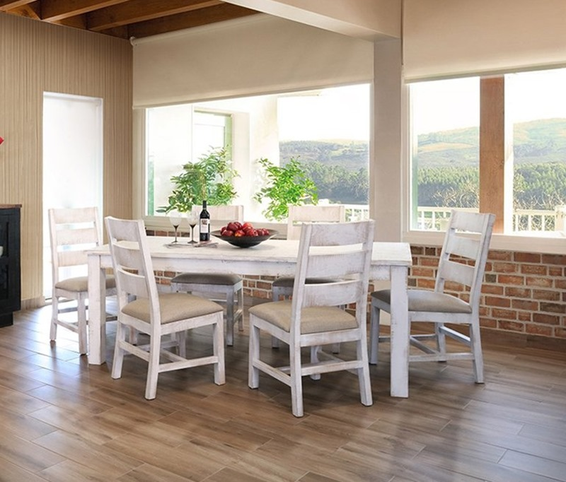 Pueblo White Rustic Dining Room Set