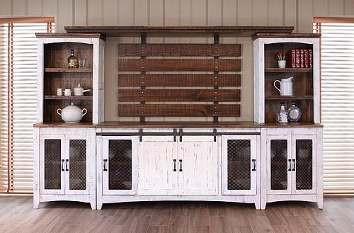 Pueblo White Rustic Entertainment Center