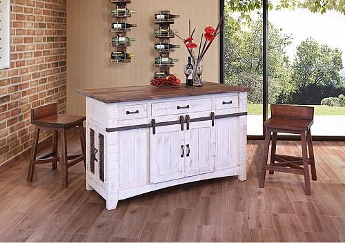 Pueblo White Rustic Kitchen Island
