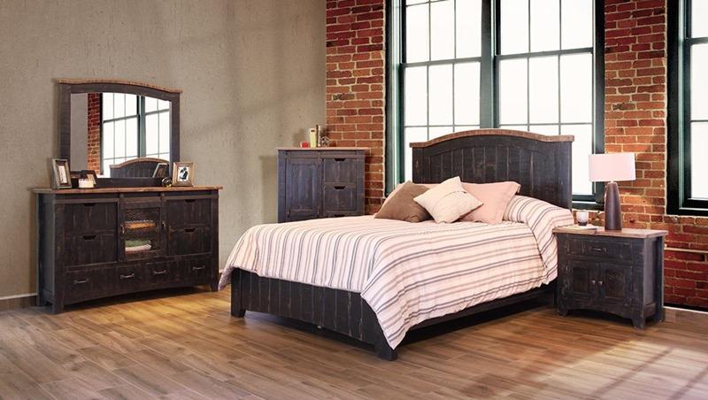 Pueblo Black Rustic Bedroom Set