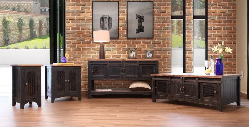 Ifd Furniture 370 Pueblo Black Rustic Coffee Table Set