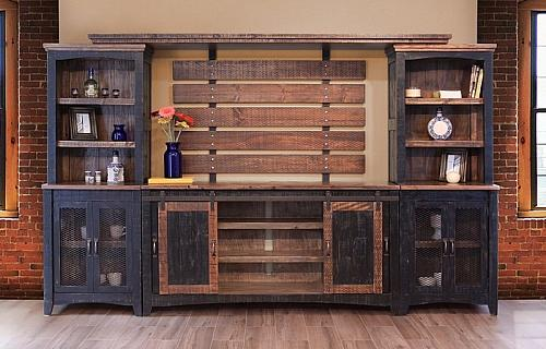 Pueblo Black Rustic Entertainment Center