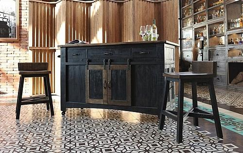 Pueblo Black Rustic Kitchen Island