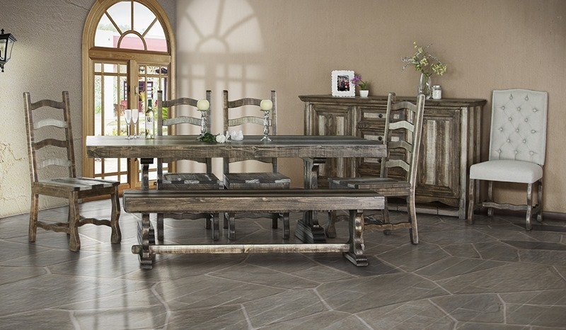 Marquez Rustic Dining Room Set with Solid Wood Chairs