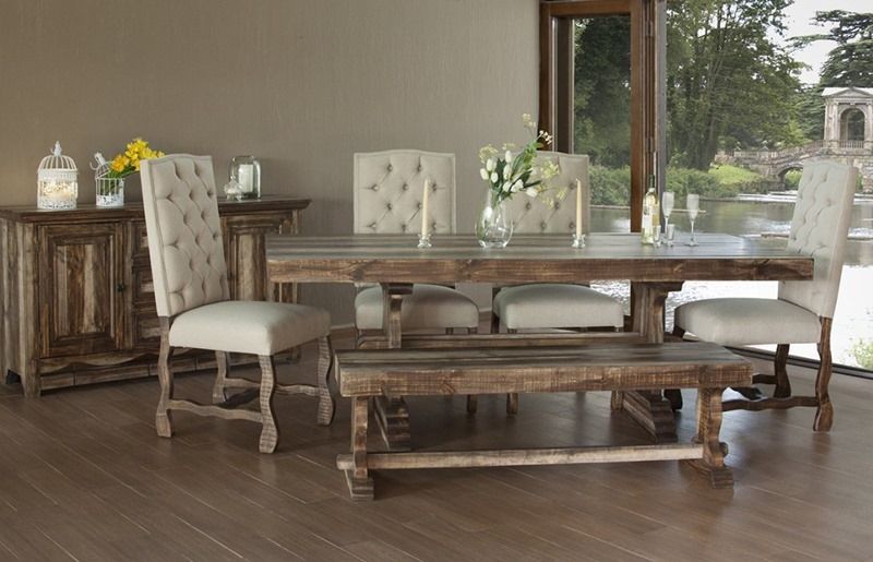 Marquez Rustic Dining Room Set with Upholstered Chairs