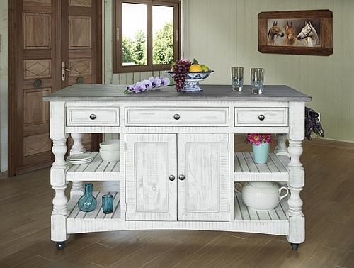 Stone Rustic Kitchen Island