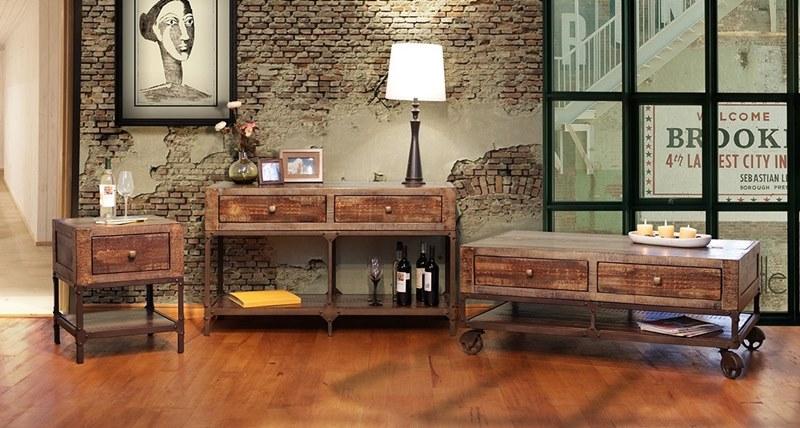 Ifd Furniture 560 Urban Gold Rustic Coffee Table Set Dallas