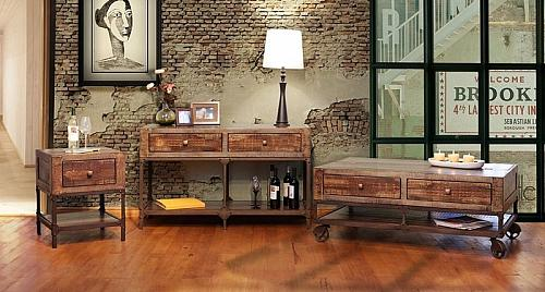 Urban Gold Rustic Coffee Table Set