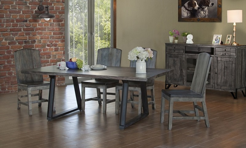 Moro Rustic Dining Room Set with Solid Wood Chairs
