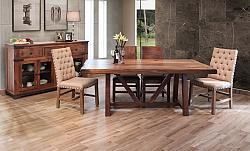 Parota Rustic Dining Room Set with Wooden Base