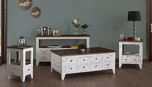 Antique Multi-Drawer Rustic Coffee Table Set in White
