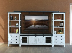 Antique White Rustic Entertainment Center