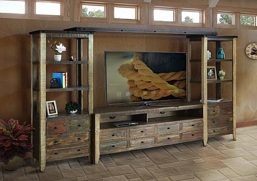 "Antique Multicolor Rustic 68"" Entertainment Center"