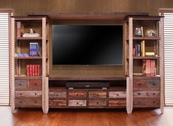 Antique Multicolor Rustic Entertainment Center
