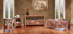 Antique Multi-Drawer Rustic Coffee Table Set in Multi-Color
