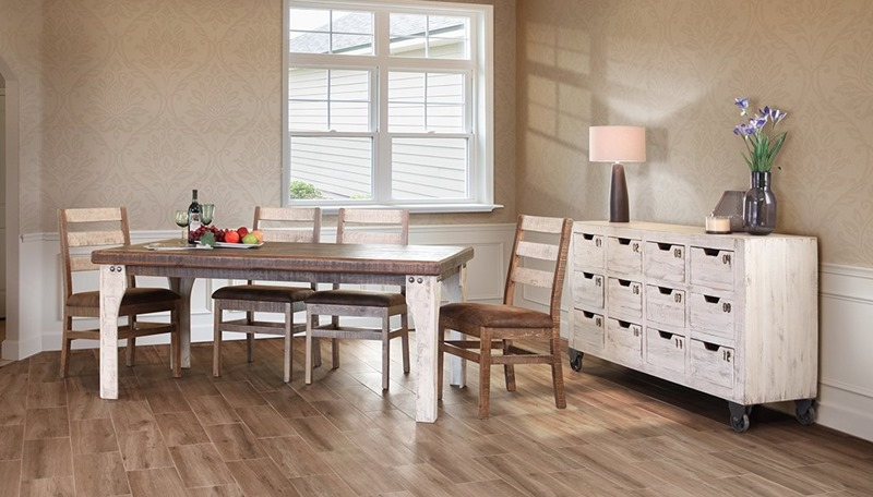 Ifd Furniture 965 Antique White Rustic Dining Room Set