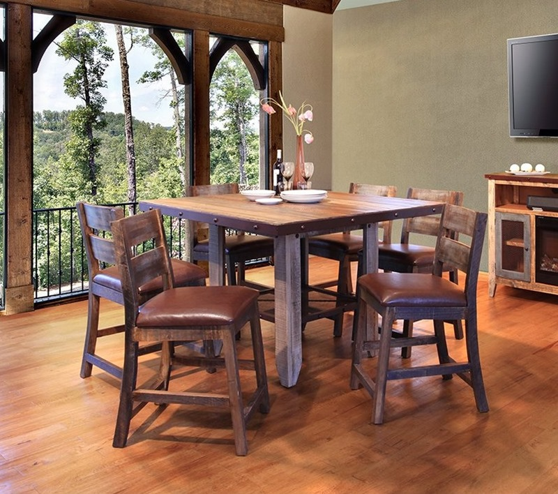 IFD Furniture | 967 Antique Rustic Counter Height Dining Room Set with  Shelf | Dallas Designer Furniture