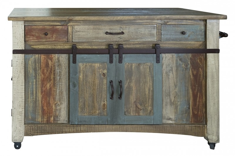 Antique Multicolor Rustic Kitchen Island