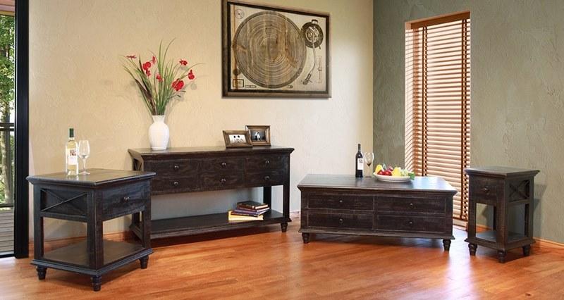 Vintage Black Rustic Coffee Table Set ...