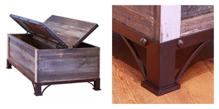 Antique Trunk Rustic Coffee Table Set