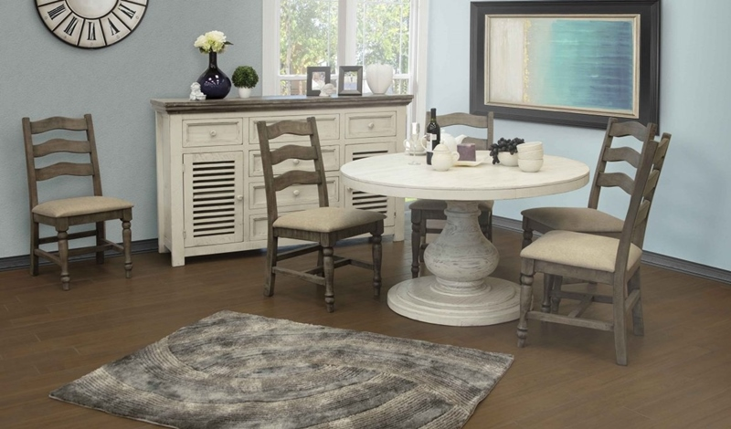 Bonanza Rustic Round Dining Set in Ivory
