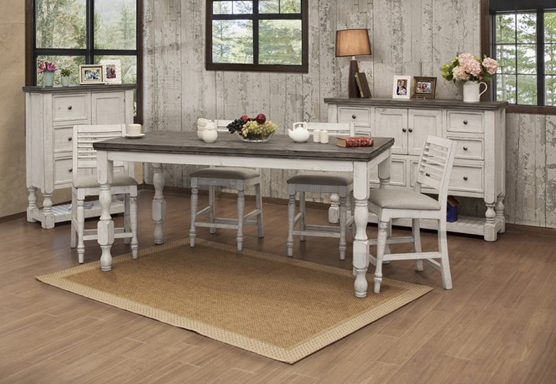 Stone White Counter Height Dining Room Set