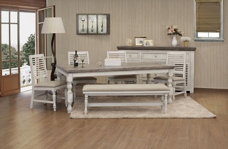 Stone Rustic Dining Room Set with Bench