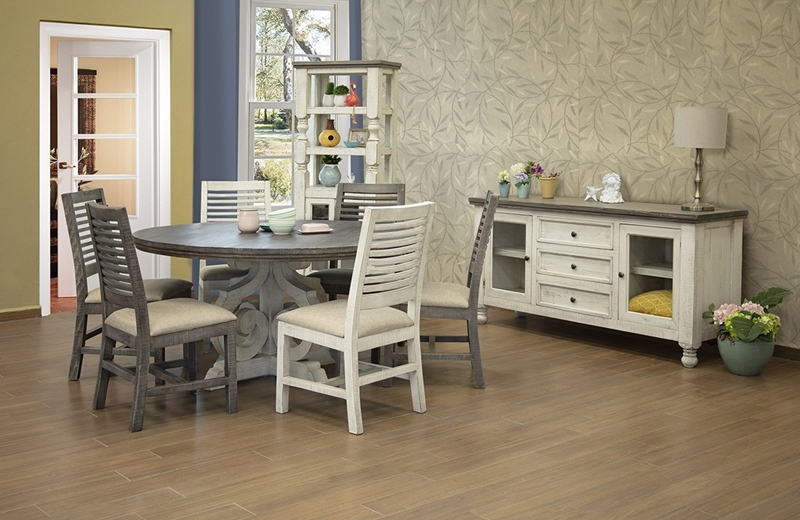 Stone Rustic Round Dining Room Two-Tone