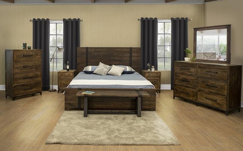 Urban Art Bedroom Set in Brown
