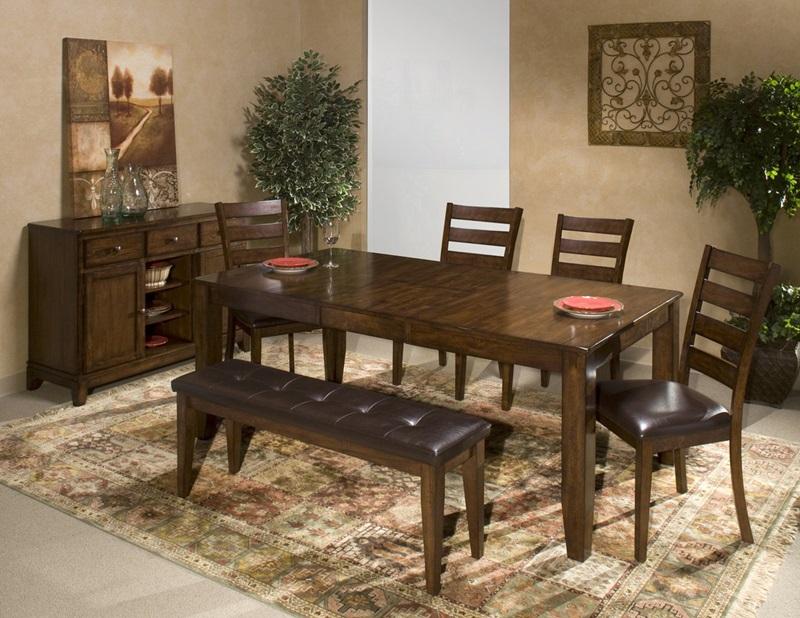 Kona Raisin Dining Room Set with Bench