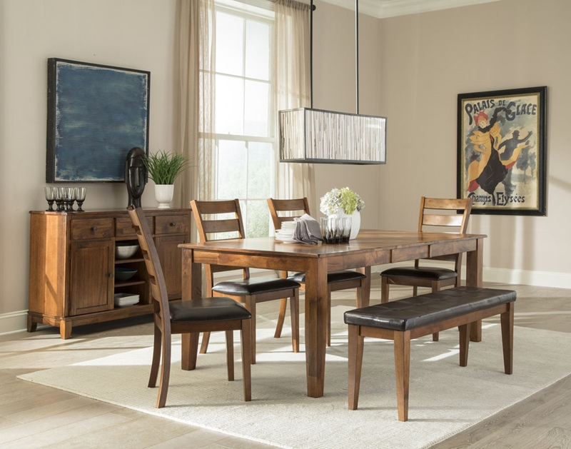 Kona Brandy Dining Room Set with Bench