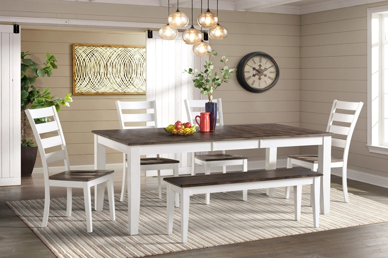 Kona Gray White Dining Room Set with Bench
