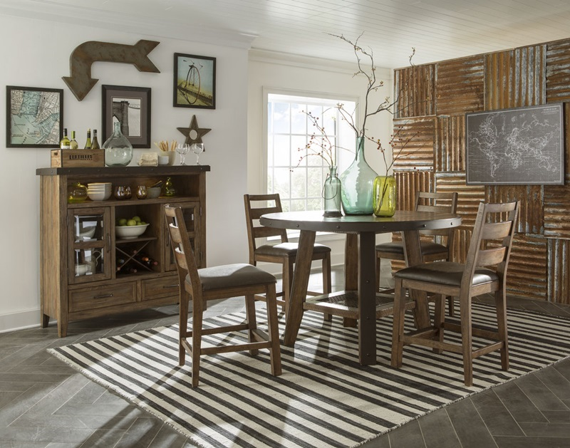 Taos Canyon Brown Round Counter Height Dining Room Set