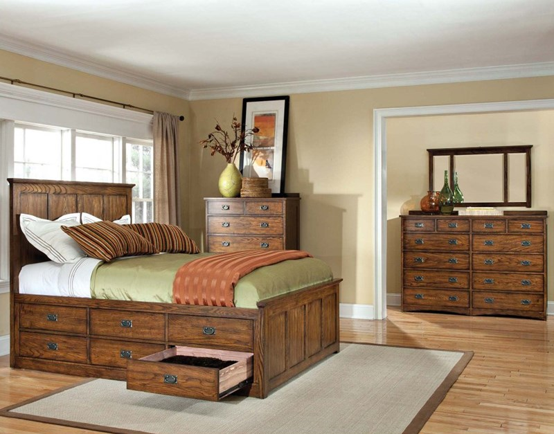 Oak Park Brown Mission Style Bedroom with Storage Bed