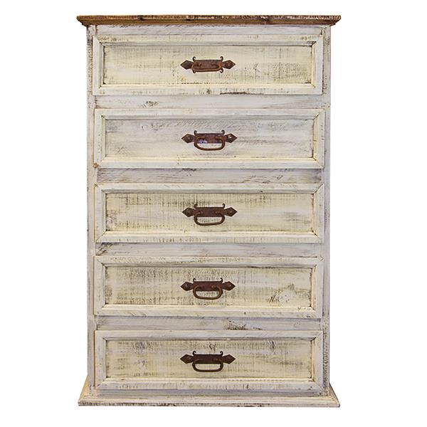 Oasis White Washed Rustic Tall Chest *Clearance*