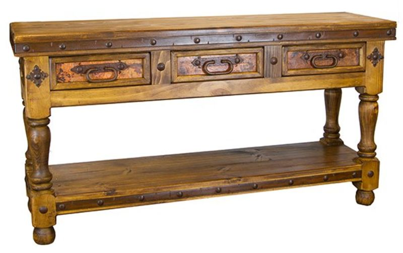 Rustic Copper Console Table