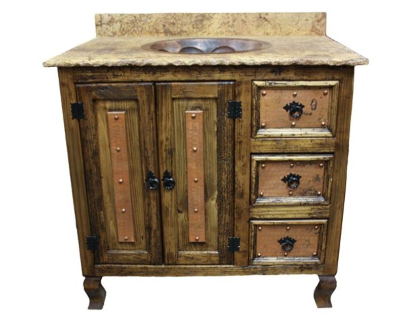 #ZMURO 211 Marble And Copper Rustic Vanity