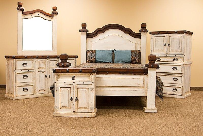 Don Carlos White Wash Rustic Bedroom Set Dallas Designer Furniture On Sale