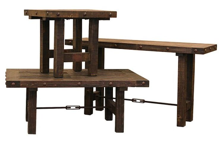 Las Piedras Rustic Coffee Table Set