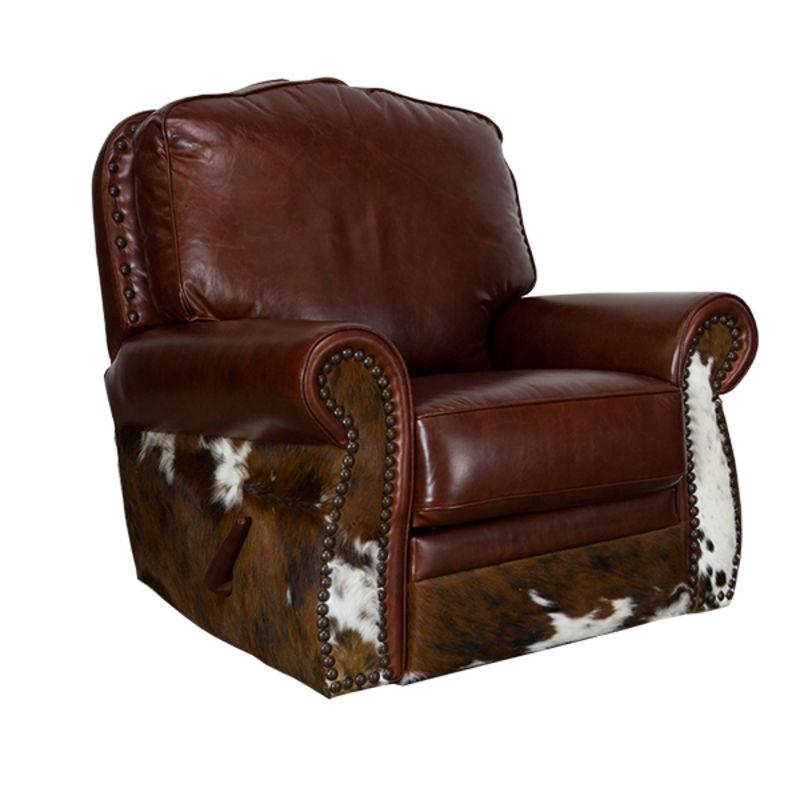 Dallas Designer Furniture LeatherCowhide Rustic Sofa Set In Dark Brown