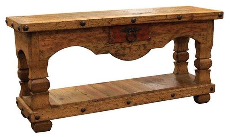 Old Wood Rustic Console Table with 1 Drawer